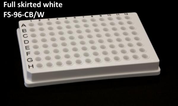 Full Skirted 96 well PCR plate white+ black print grid 25/box