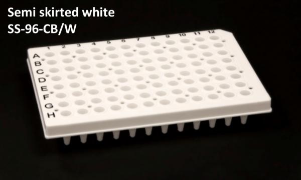 Semi Skirted 96 well PCR plate white + black print grid 25/box