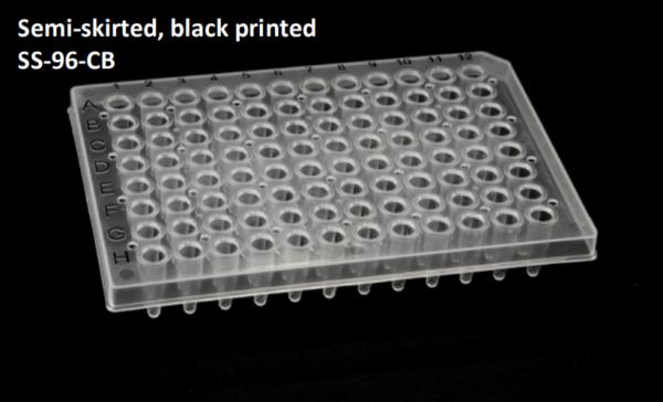 Semi Skirted 96 well PCR plate + black print grid 25/box